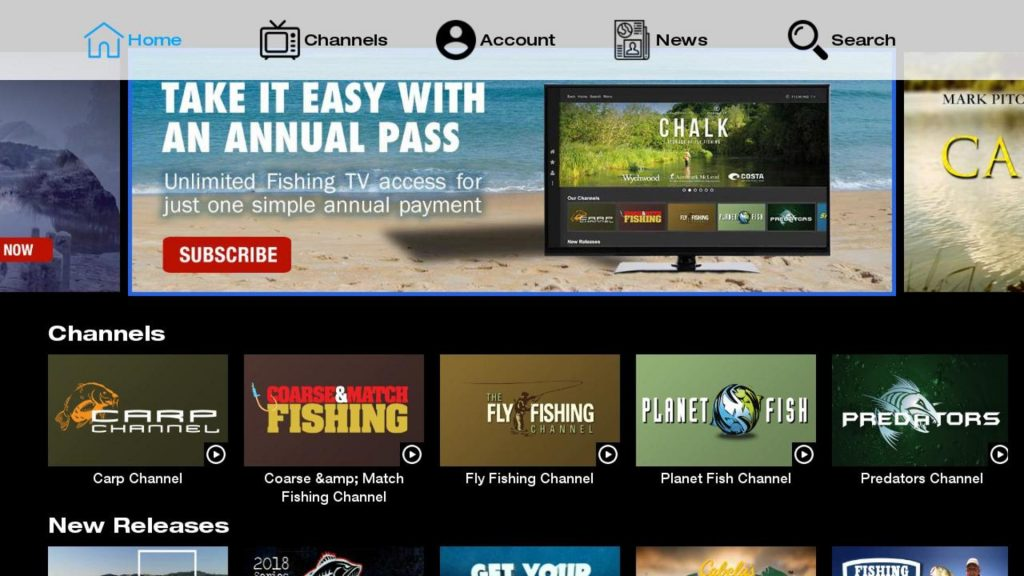 Fishing TV app on Roku Homepage