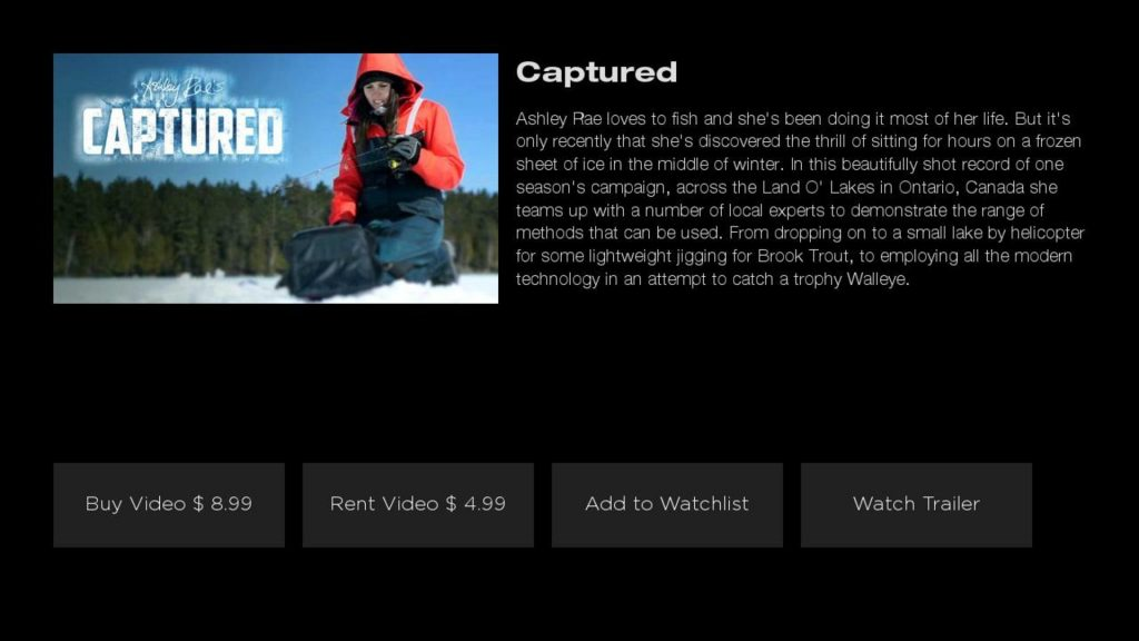 Fishing TV Video Page on Roku